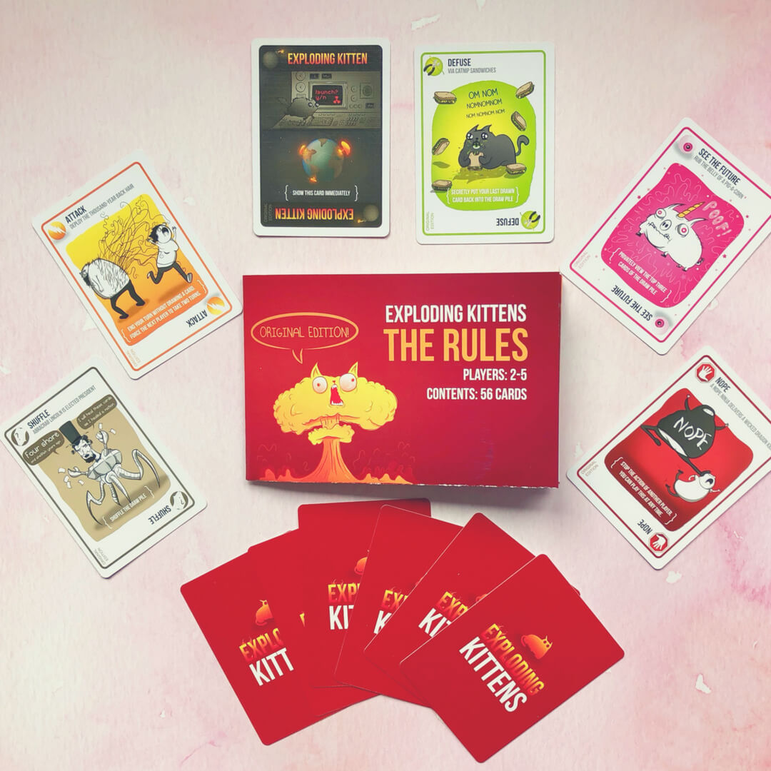 See the cards for the game Exploding Kittens as we review.