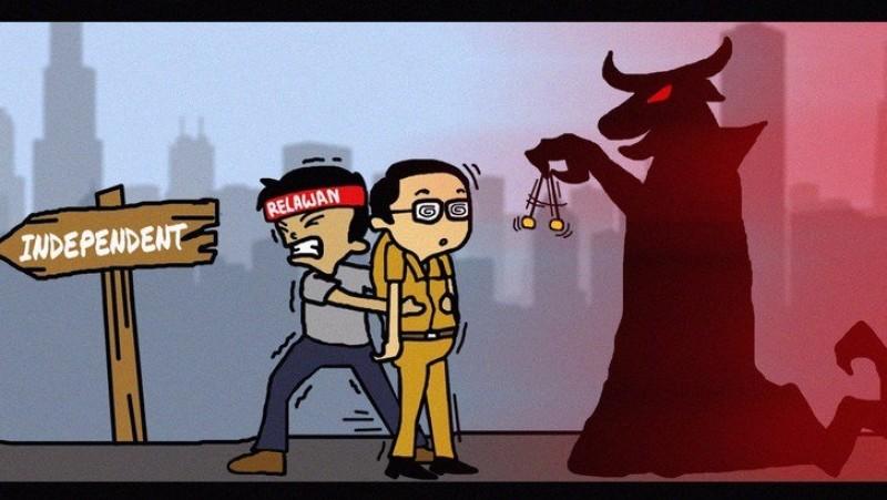 Karikatur Teman Ahok soal Ahok di antara independen dan PDIP