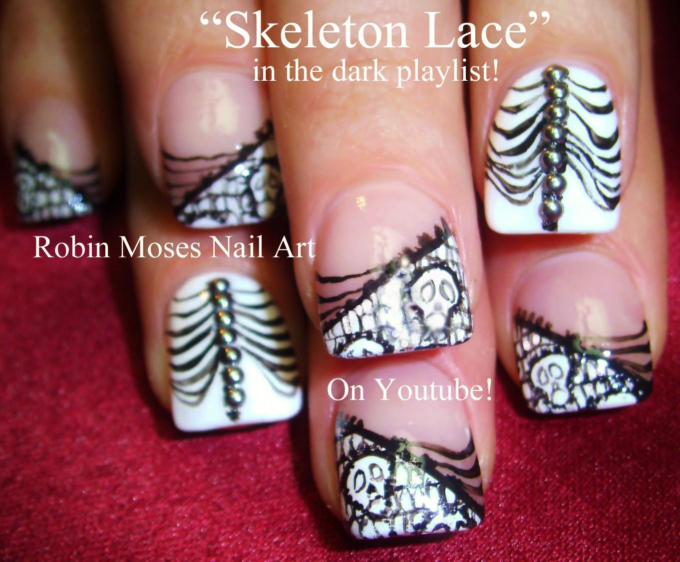Nail Art By Robin Moses Skeleton Nails Halloween Nails