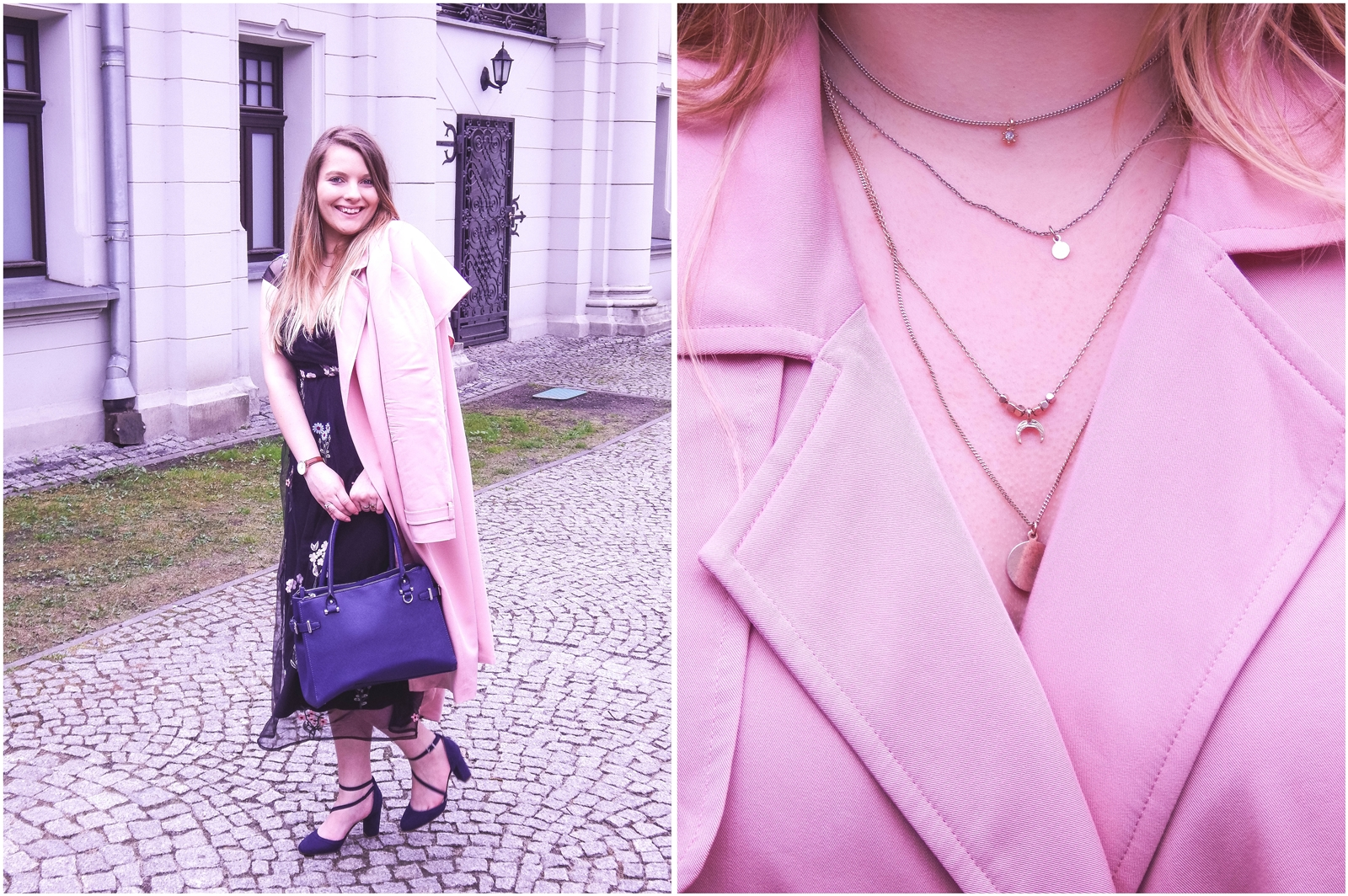 7a orsay trendy wiosna 2018 nowa kolekcja moda fashion blog blogerki modowe łódź z łodzi łódzkie melodylaniella fashion instagram sukienka na wesele różowy płaszcz granatowe pantofle duża torba