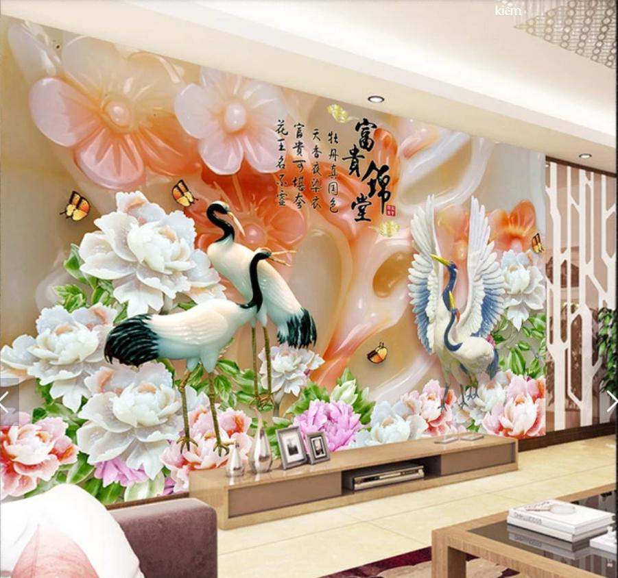 Tranh Ngọc 3d chim hạc hoa mẫu đơn