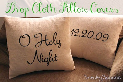 10 Minute Drop Cloth Pillow Covers | SneakySpoons