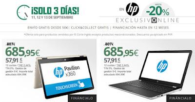 Promoción -20% HP El Corte Inglés septiembre 2017