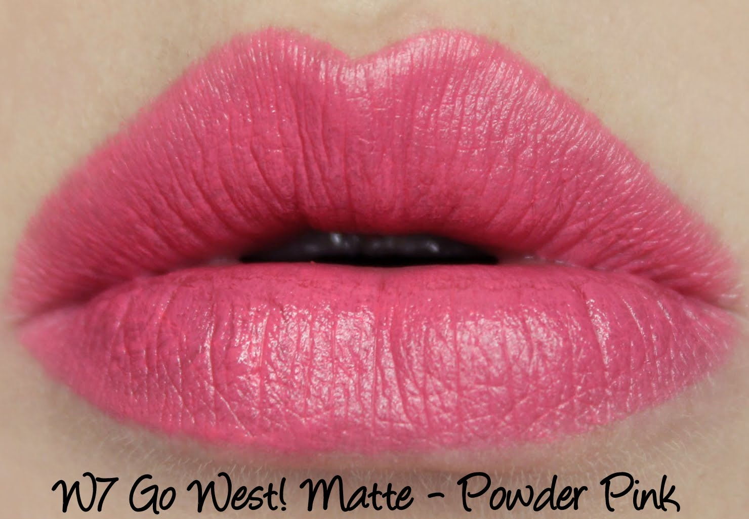 W7 Go West! Matte Lipstick - Powder Pink Swatches & Review
