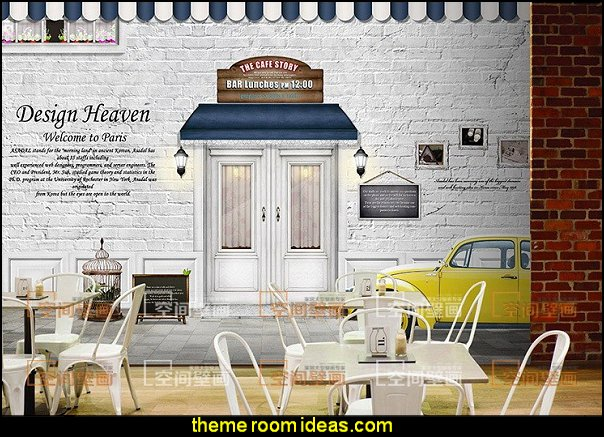 Coffee Shop Restaurant European-style mural wallpaper living room