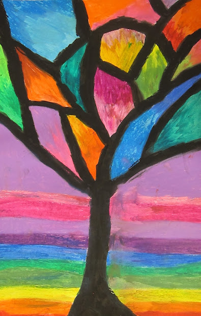 Art Basic- Teacher Abstract Oil Pastel Trees