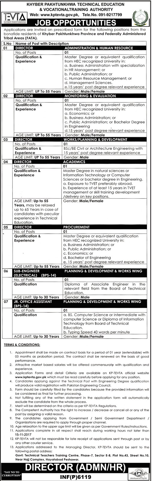 Jobs In Technical Education And Vocational Training Authority TEVTA Oct 2017