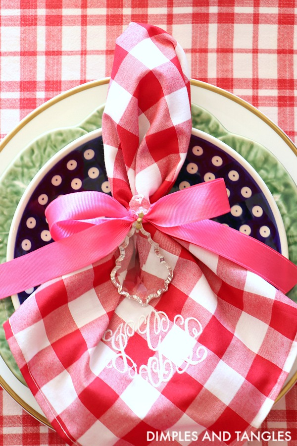 red gingham monogrammed napkins, polish pottery plate, cabbage plate
