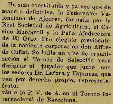 Recorte sobre la Fundación de la Federación Valenciana de Ajedrez