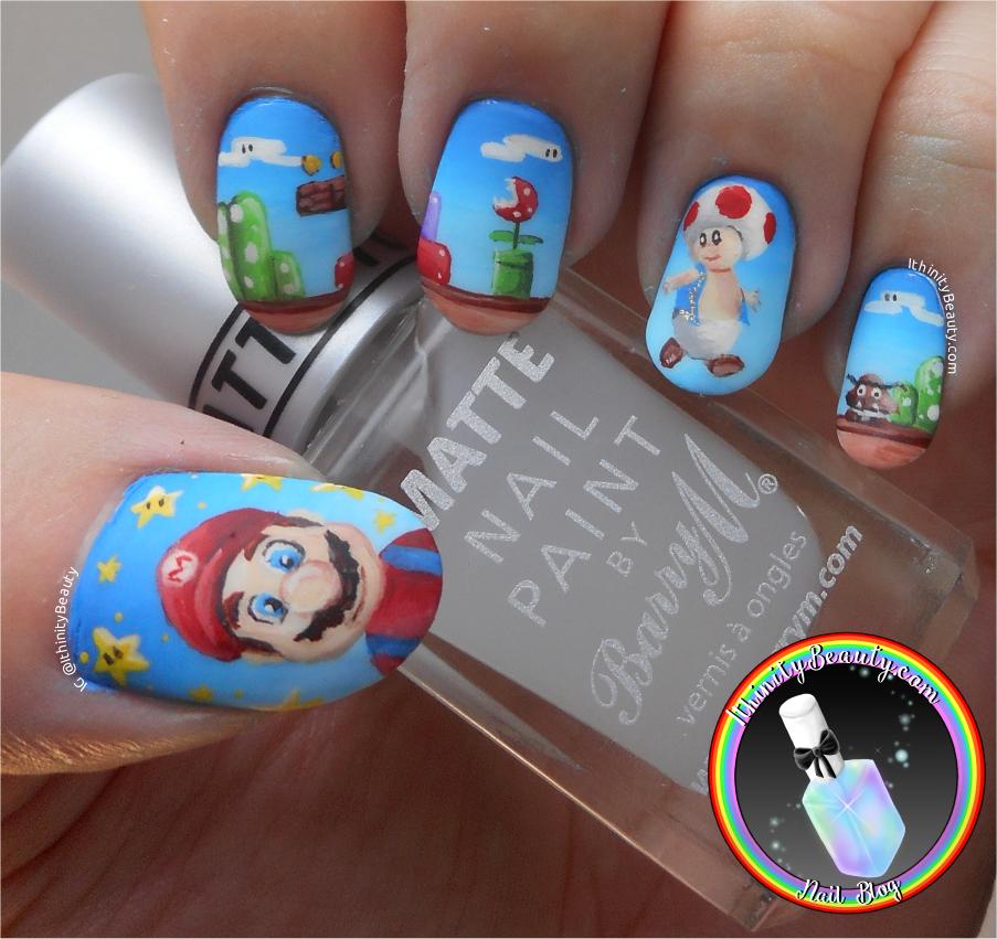 Freehand Nintendo Mario Brother\'s Nail Art - Mario Day ...