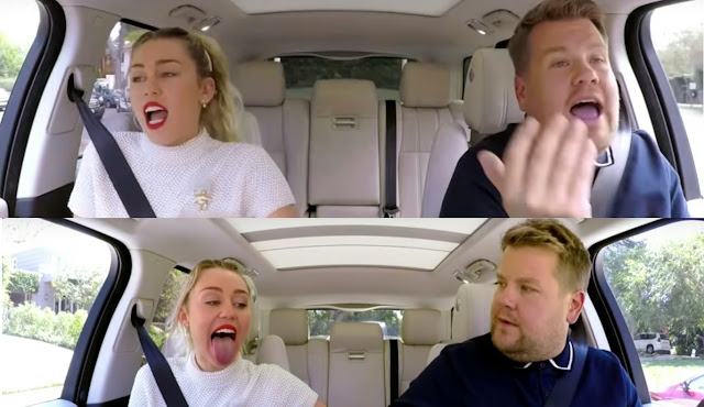 Still Image from Miley Cyrus Carpool Karaoke with James Corden