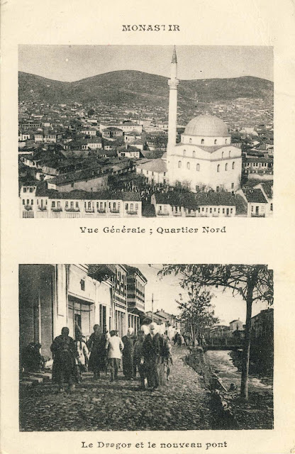 """Two part postcard, by an unknown French publisher called """"Monastir"""""""