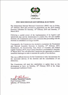 INEC chairman, Mahmood Yakubu Announces Postponement Of Nigeria Election Officially
