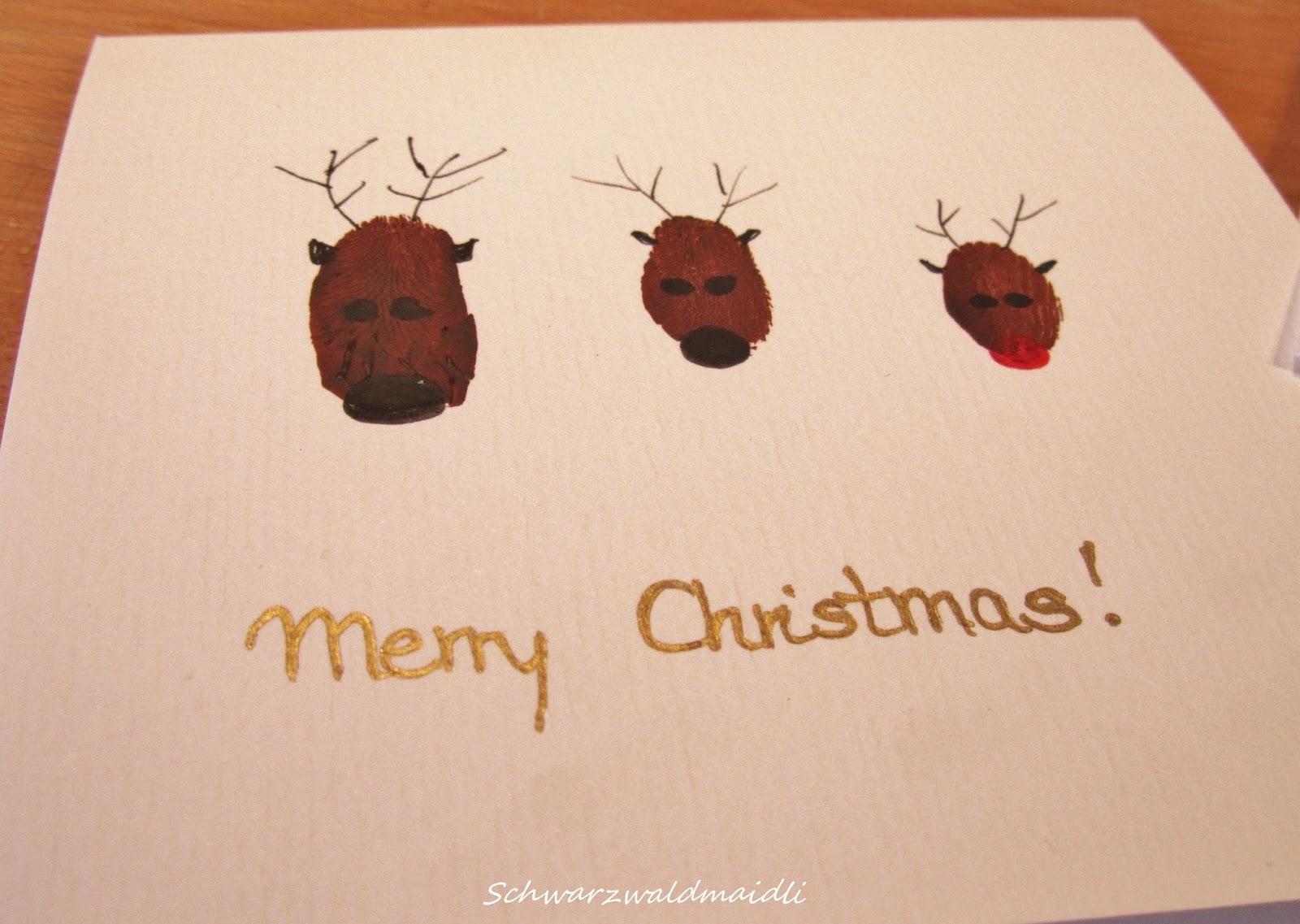 Weihnachtskarten Mit Fingerabdruck.Schwarzwaldmaidli Diy Weihnachtskarten Mit Fingerabdruck Rentieren