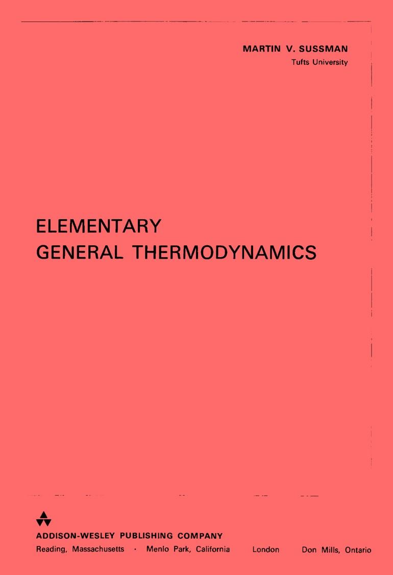 Elementary General Thermodynamics – Martin V. Sussman