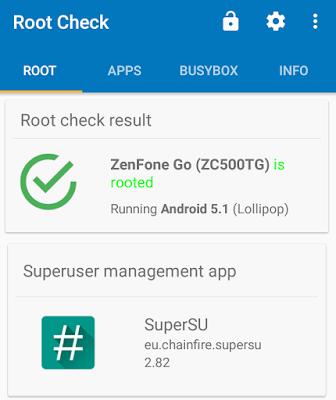 screenshot asus zenfone go yang sudah di root.