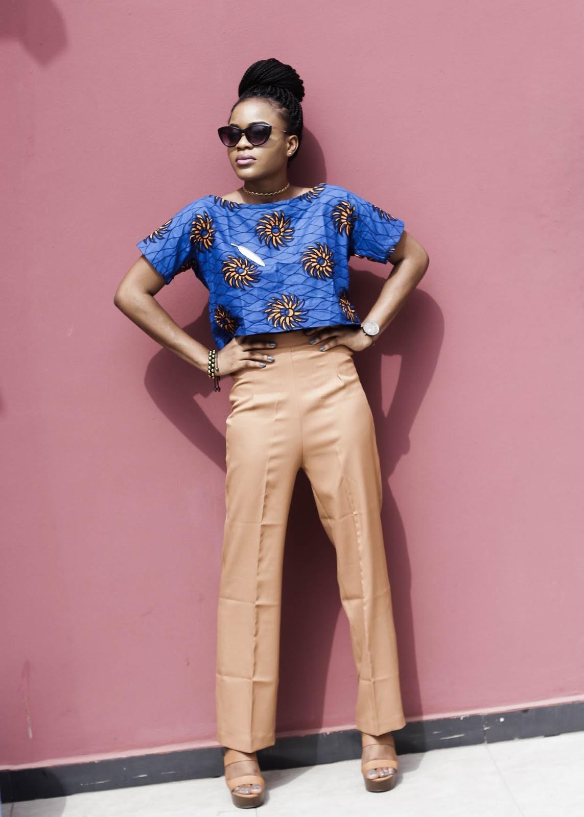 Brown/tan wide leg pant, ankara blouse,cateye glasses, gold choker, Cedar Adinfono, oncedarplanet
