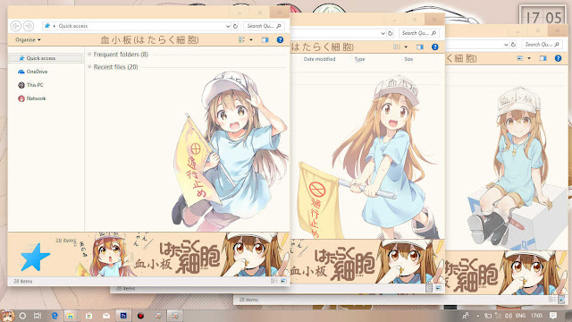 Windows 10 Ver. 1703 Theme Hataraku Saibou by Enji Riz Lazuardi