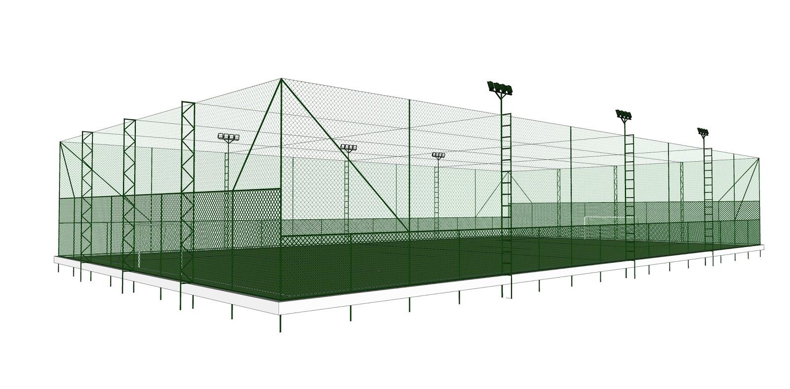 ... e tirantes em cabo de aço na cobertura para sustentar as redes de  cobertura. A estrutura disponível nas cores verde dbfa8ebc6c5c5