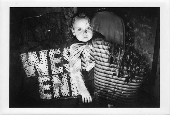 dirty photos - upon - flash street photo of double exposure of little girle and parents on west end tshirt