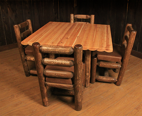 Our Grizzly Square Cedar Log Dining Table Boasts Lots Of Character And A Timeless Design