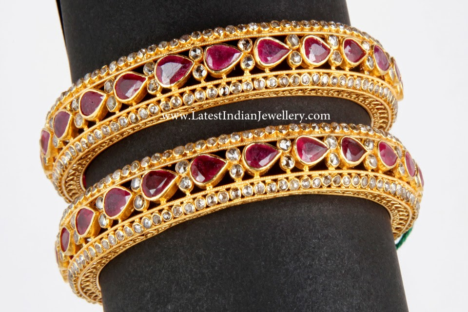 Uncut Diamond Ruby Indian Bangles Pair Latest Indian