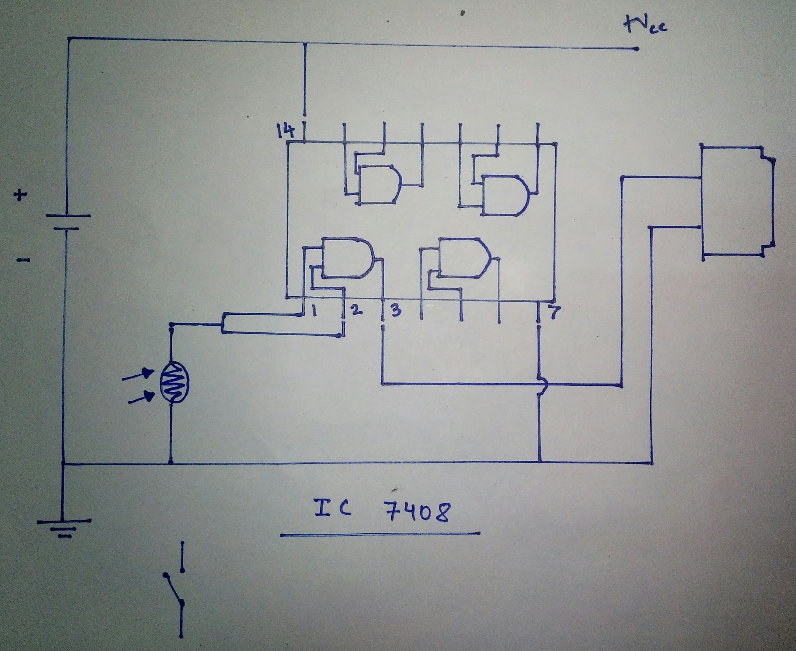 Skill Up With Electronics How To Make A Photo Sensor Using Ic7408 Wiring Diagram For Lights On Buzzer So Heres The Circuit That Ive Designed As You Can See Were An Ic 7408 Ldr And Also We Are Breadboard