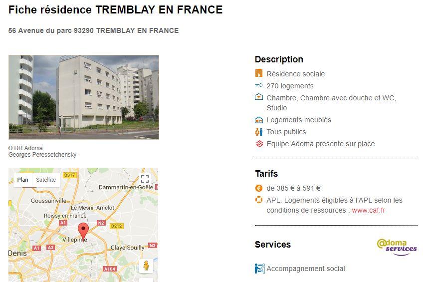 Adresse de Zoulikha Merah, dans un logement social Adoma à Tremblay en France (93)