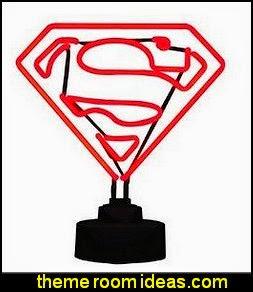 Superman Mini Neon Sign  superman bedroom decorating ideas - superman decor - superman wall murals - superman bedding - Superheroes bedroom ideas - batman - spiderman - superman phone booth bedroom ideas - Superman bedroom decor