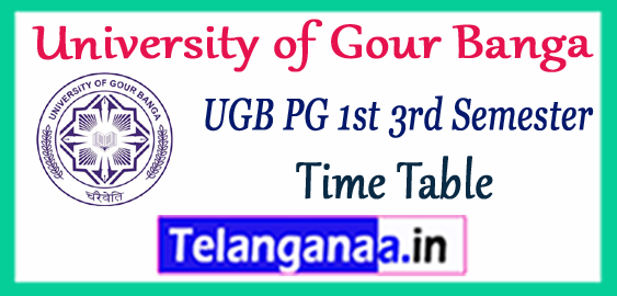 UGB University of Gour Banga PG B.Ed 1st 3rd Semester Time Table 2017-18