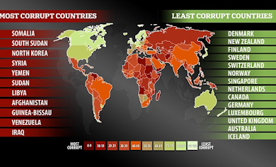 Nigeria retains it's 136th position in the 2016 Corruption Perception index