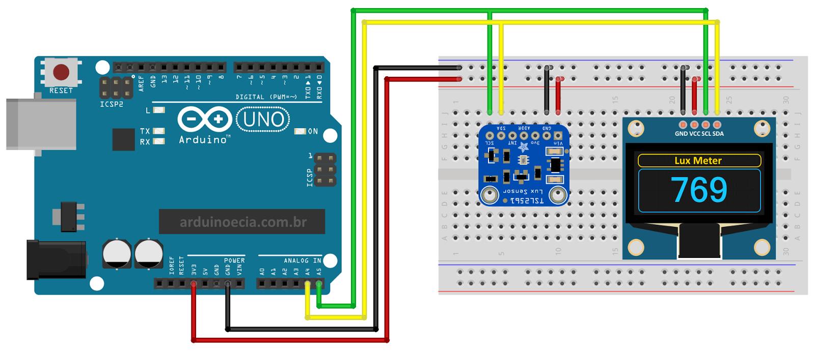 Arduino Uno - Oled - Sensor TSL2561