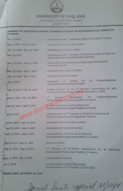 UNIUYO: APPROVED 2018/2019 ACADEMIC CALENDAR RELEASED