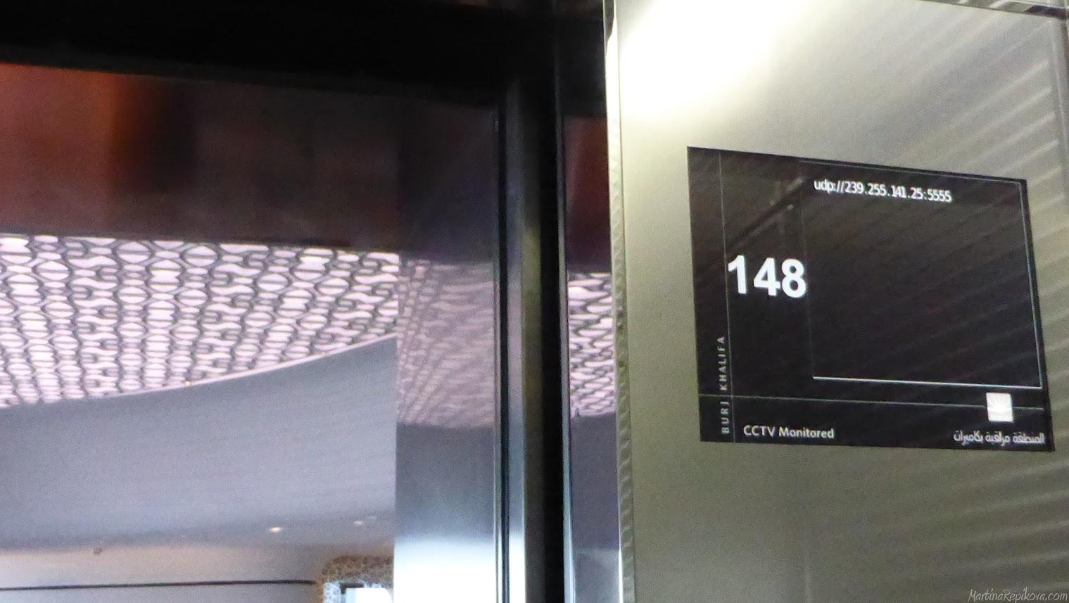 Burj Khalifa, druhý výťah ide na 148 poschodie