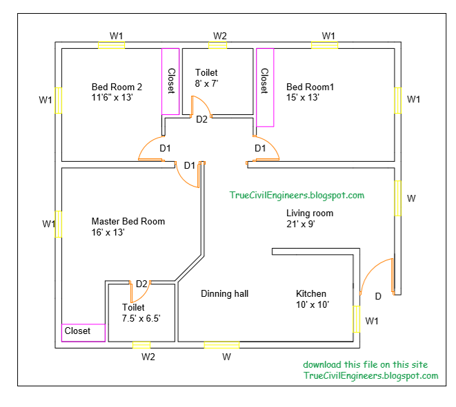 3BHK  residential building line plan  and its details with