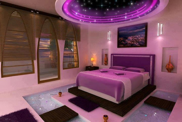 PVC pop false ceiling in bedroom area with window treatment and modern flooring design