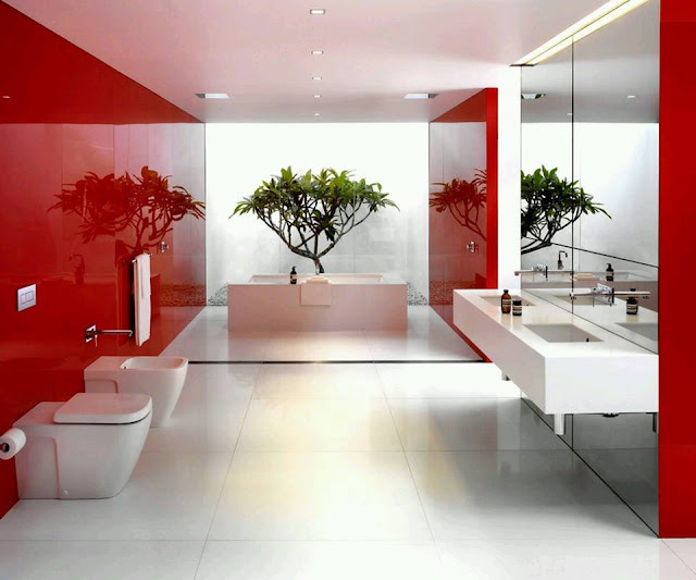 Cool White And Bold Red Bathroom Design Ideas