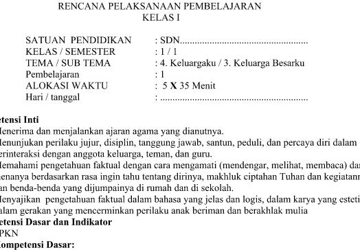 RPP Kurikulum 2013 SD Kelas 1 Revisi Tema 4 Subtema 3 Pembelajaran 1