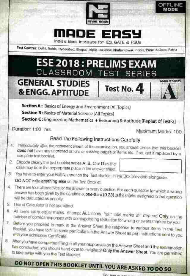 Made easy ESE 2018 test series general studies & Engg aptitude Test no. 4