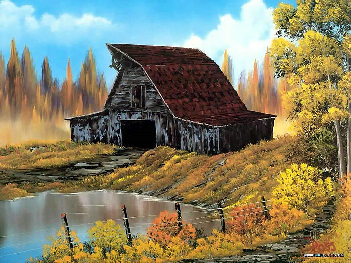 imagination painting bob ross painting on Rustic Country Paintings id=49591