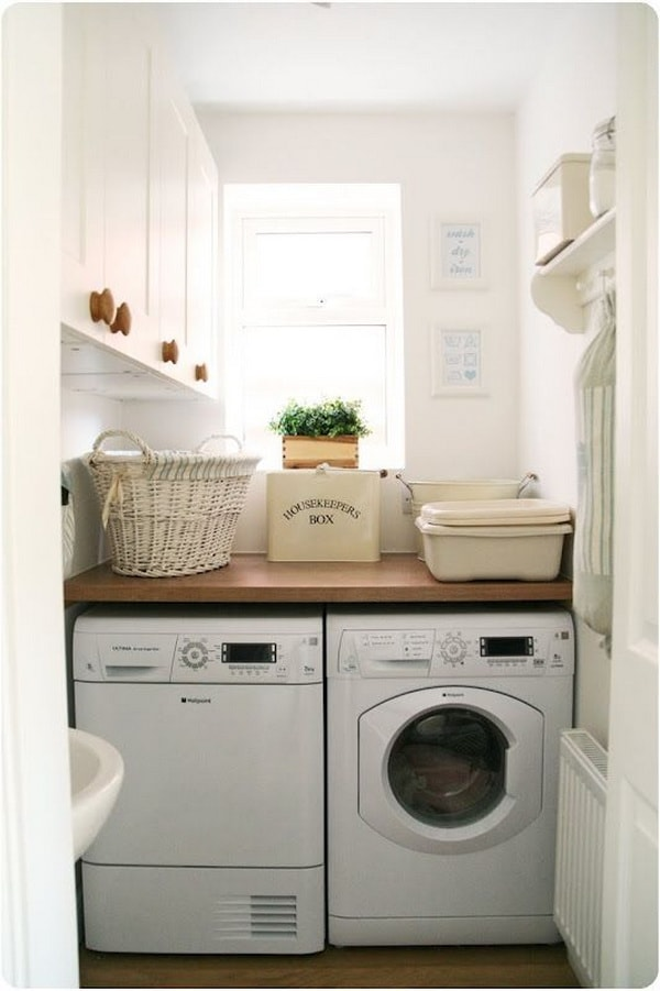 DIY Small Laundry Room Organization Ideas With Top Loading Washer 14