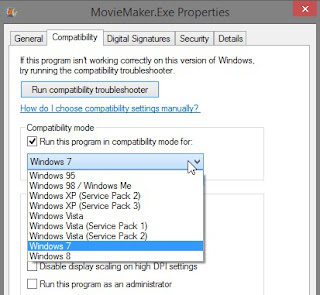 run Windows Live Movie Maker in compatibility mode