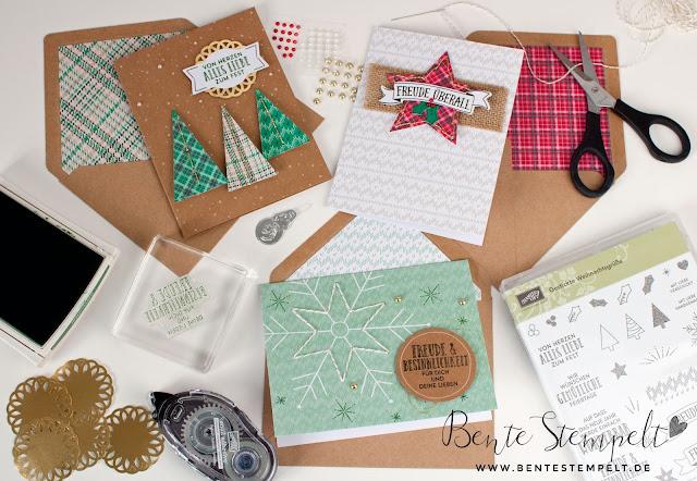 Stampin Up Projektset Gestickte Grüße Stempelset Gestickte Weihnachtsgrüße Workshop Sticken Nadel Weihnachtskarten schnel