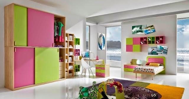 chambre color e pour fille. Black Bedroom Furniture Sets. Home Design Ideas