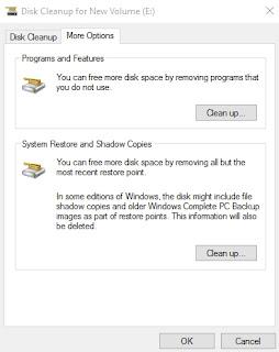 Mengosongkan space hard disk dengan clean up pada System Restore and  Shadow Copies