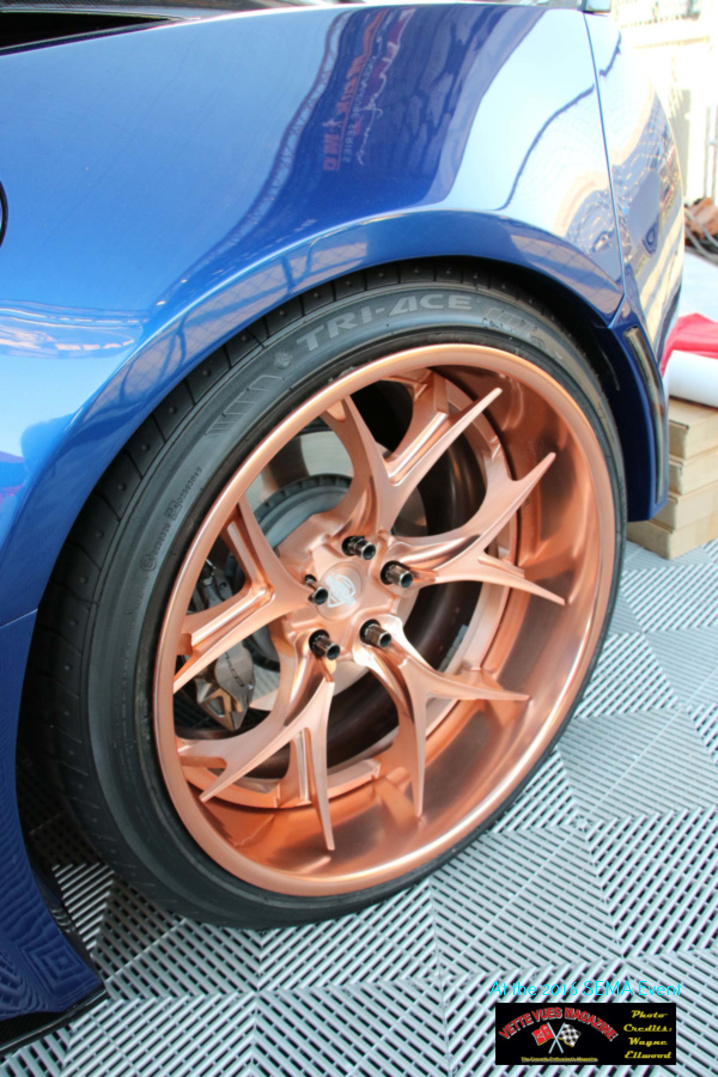 """The forged alloy wheels are by Kompression the """"R"""" series tires by Tri-Ace are specifically sized to fit the new wheel offset and size. Tires are not ZR-rated, but Tri-Ace is working on this aspect. Sizes are 285-25- 20 front, and a 325-30-21 rear tire."""