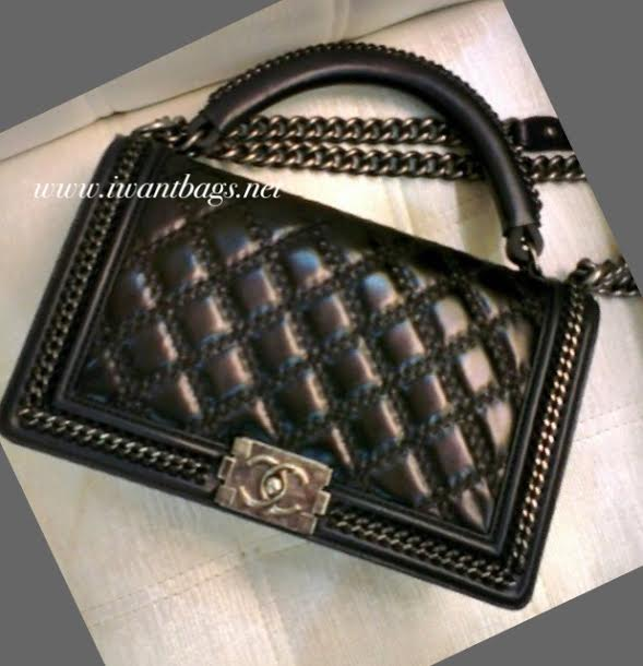 c6337fc5778c I Want Bags backup  BOY CHANEL Large Flap Bag with Top Handle-Black