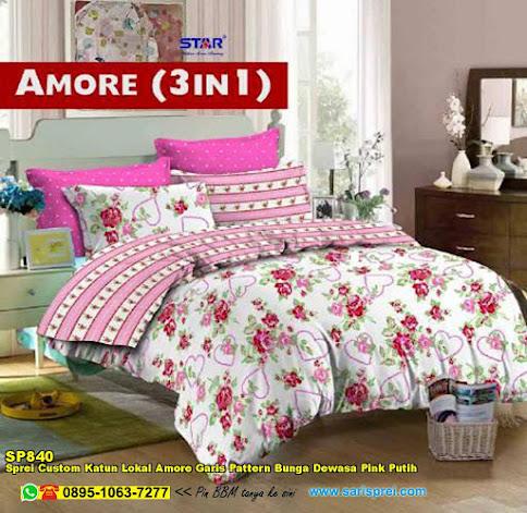 Sprei Custom Katun Lokal Amore Garis Pattern Bunga Dewasa Pink Putih