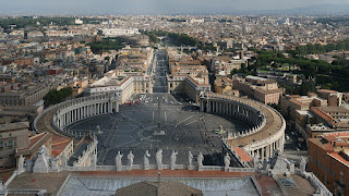 A view over St Peter's Square at the heart of the Vatican