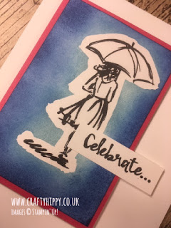 Handmade bright Blue and Pink 'celebrate' card showing a lady with an umbrella, made with the Beautiful You stamp set by Stampin' Up!